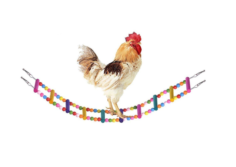 RYPET Colorful Ladder Bird Toy, Flexible Ladders Wooden Rainbow Bridge Parrots Trainning RYPET Chicken Swing