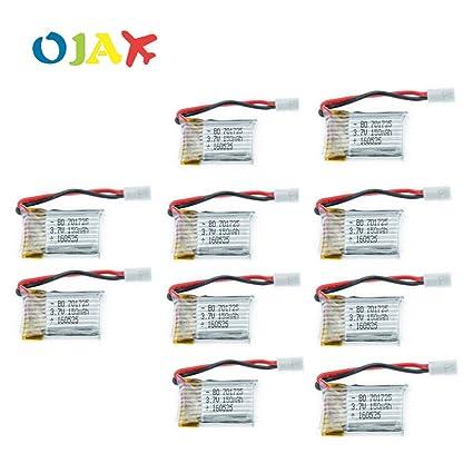 OJAX 10pcs 3.7V 150mAh drone quadcopter Bateria lipo 701725 con + ...