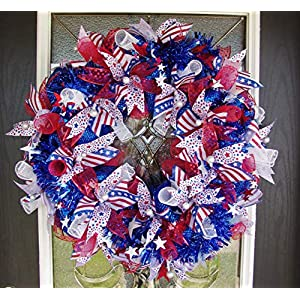 4th of July Bling Front Door Deco Mesh Wreath, Festive Patriotic Decor, Welcoming Party Decoration, Porch Patio, Indoor Outdoor, Unique Gift 97