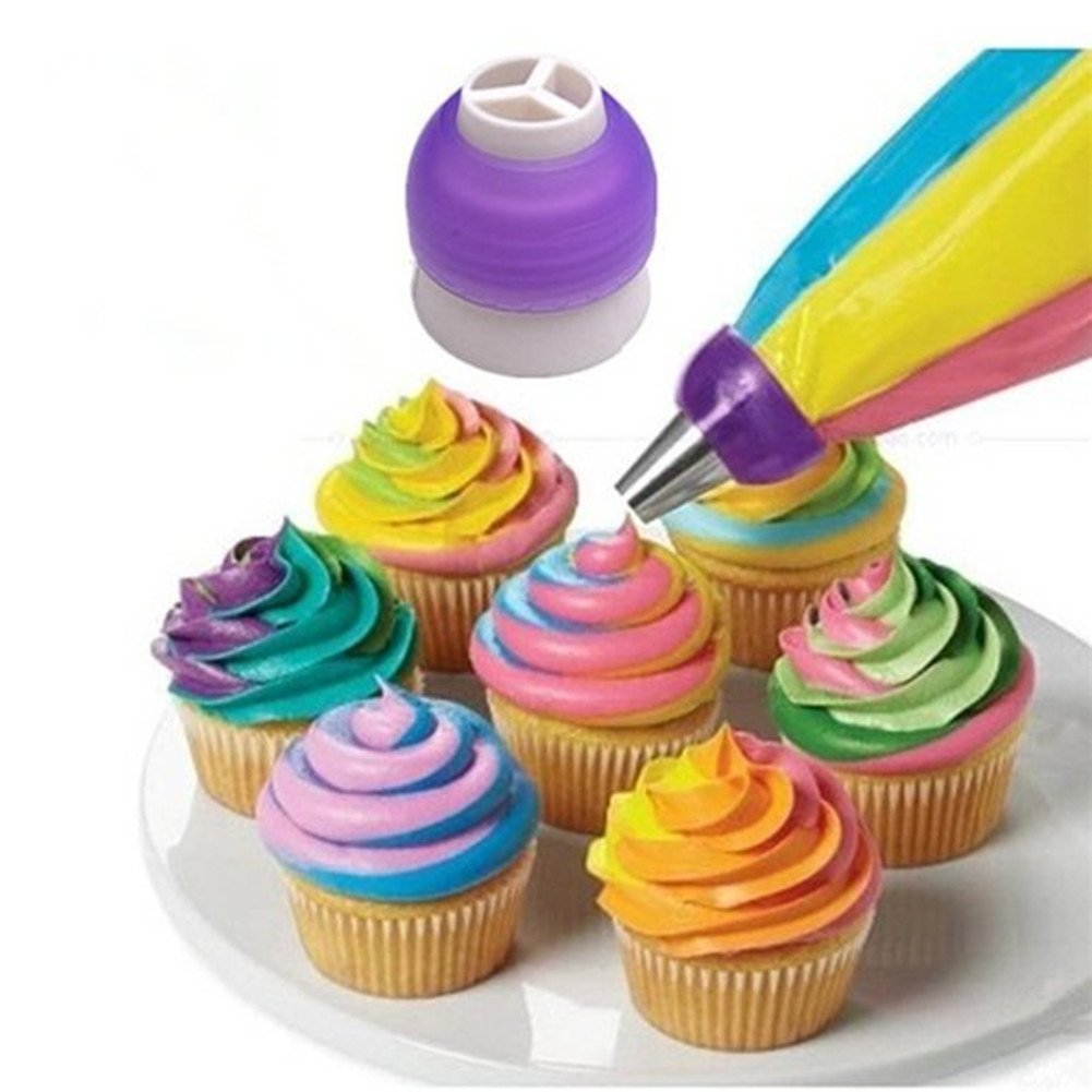 3-Color Coupler Icing Piping Bag Nozzle Converter Decorating Kit for Cupcake Fondant Cookie 2 set FIST BUMP Dept