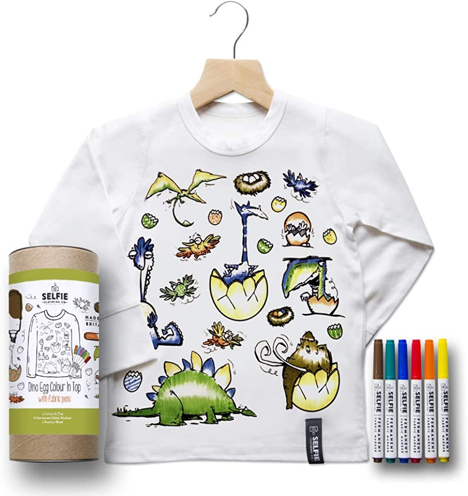 Selfie Clothing Colour in Dino Egg Long Sleeved Top with Fabric Pens