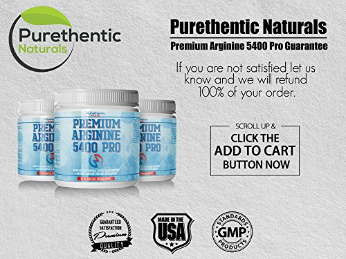 L-Arginine Powder 5400mg — Premium Nitric Oxide Powder — Supports Blood Pressure & Cholesterol — Mixed Berry Flavor - Promotes Natural Energy & Cardiovascular Health - (9.4 oz) by Purethentic Naturals (Image #5)