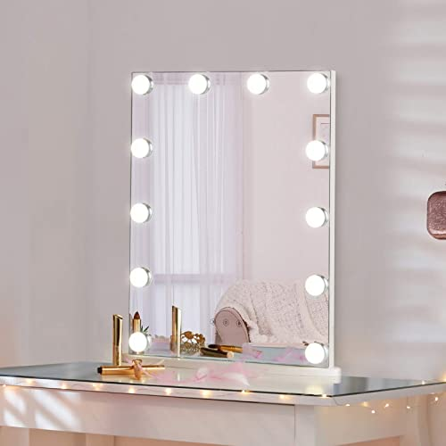 LUXFURNI Vanity Tabletop Hollywood Makeup Mirror w/ USB-powered Dimmable Light