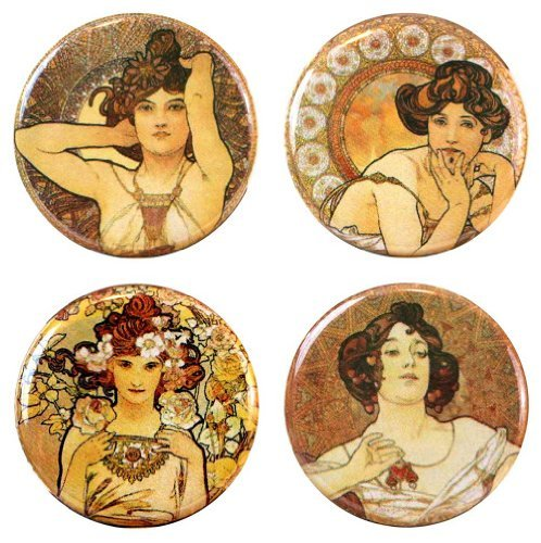 Henry the Buttonsmith Mucha Refrigerator Gemstones Magnet Set