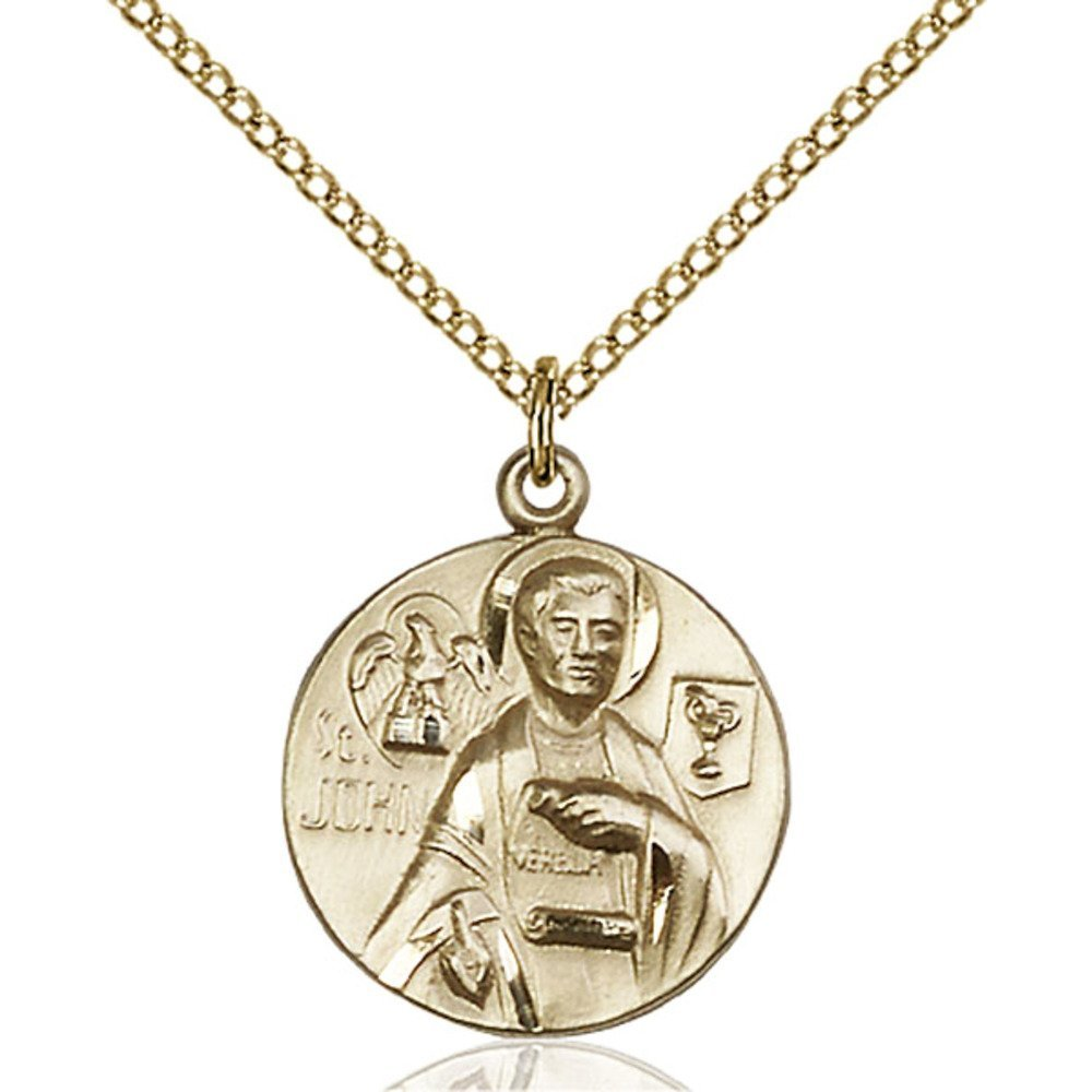 Gold Filled St. John the Evangelist Pendant 3/4 x 5/8 inches with Gold Filled Lite Curb Chain by Bonyak Jewelry Saint Medal Collection