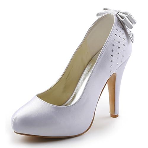 ElegantPark EP11034-IP Mujer Tacón de Aguja la Plataforma Rhinestone Arco  Nudo Satén Zapatos de Fiesta Boda  Amazon.es  Zapatos y complementos 36cc1b5469fc