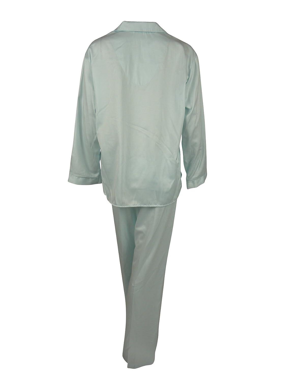 New Miss Elaine Brushed Back Satin Long Two Piece Pajama Set - Blue - S at Amazon Womens Clothing store: