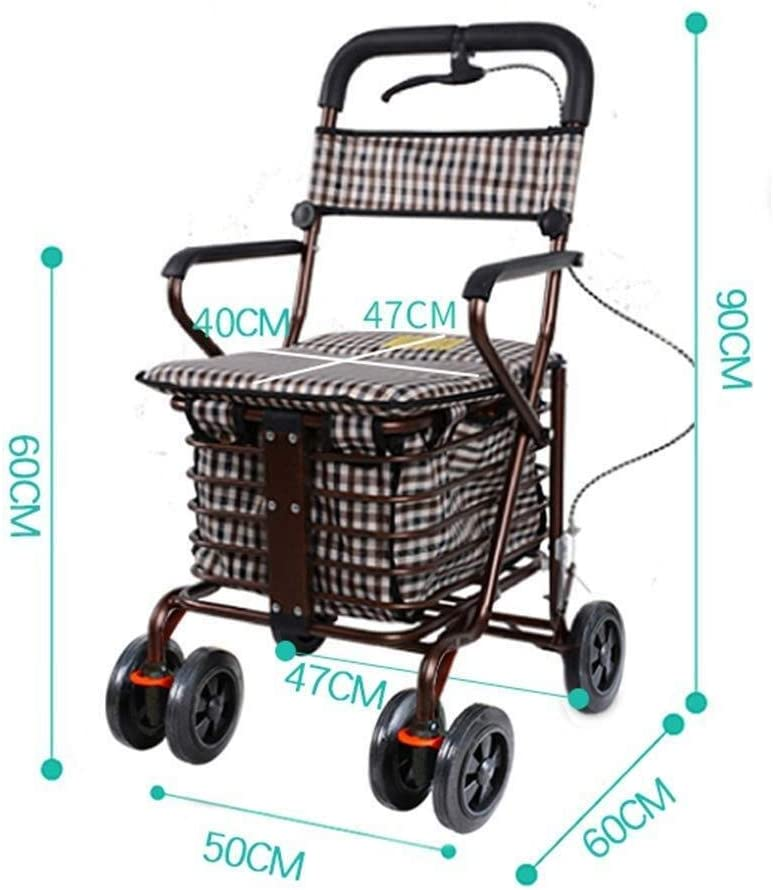 Bearing Weight: 100kg Color : Bronze WRL/&GJP-SLC Shopping Trolley, Shopping Trolley Seat and Shopping Basket Wearable and Foldable and Easy to Store Walker Trolley Folding Seat Walker