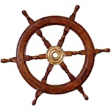 "Hampton Nautical Deluxe Class Wood and Brass Decorative Ship Wheel 24"" - Nautical Home Decoration Gifts"