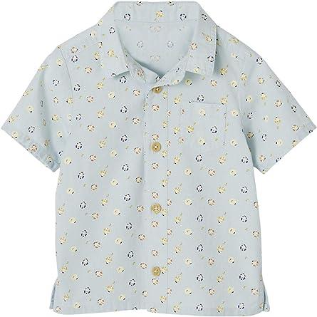VERTBAUDET Camisa de Manga Corta con Estampado para bebé niño Azul Claro Estampado 24M-86CM: Amazon.es: Ropa y accesorios