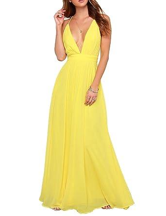 046d90e00 Amazon.com  Gameyly Sexy Deep V-Neck Chiffon Yellow Long Maxi Dress ...