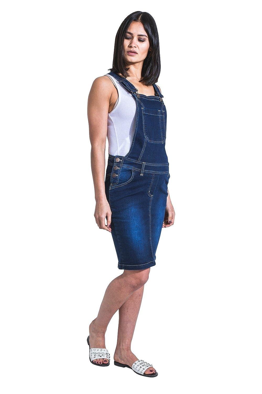Uskees Rosie Short Maternity Pinafore Darkwash Denim Pregnancy Dress Adjustable Rosie
