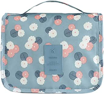 Portable Toiletry Bag Travel Bag with Hanging Hook, Waterproof Make Up Cosmetic Bag Bathroom Organizer for Women and Girls