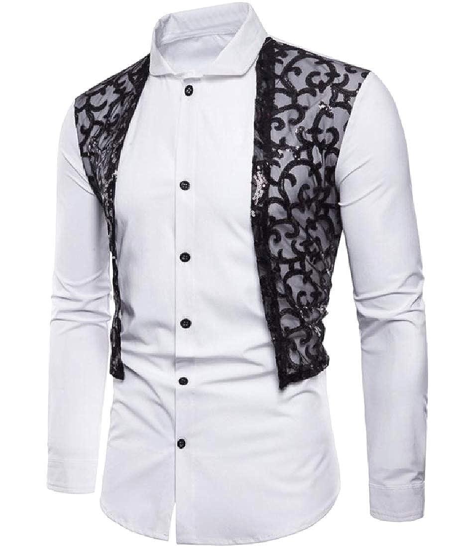 Abetteric Men Fashion Large Size Embellished Button Down Top Shirt