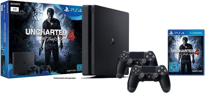 Playstation 4 - Konsole (1 TB, Schwarz,Slim) Inkl. Uncharted 4 + 2 Dualshock 4 Controller [Importación Alemana]: Amazon.es: Videojuegos