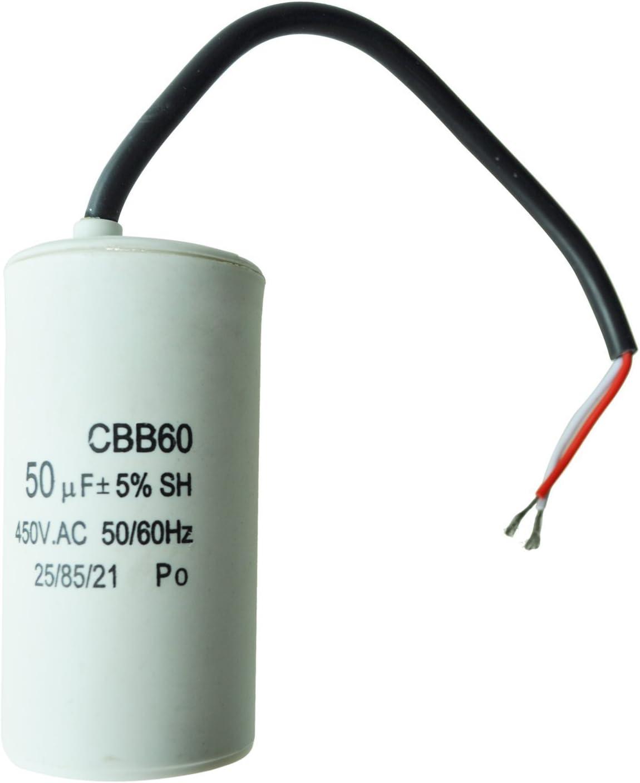 SODIAL(R) Condensador de Arranque del Motor 50uF 450VCA CBB60 para Lavadora - Blanco