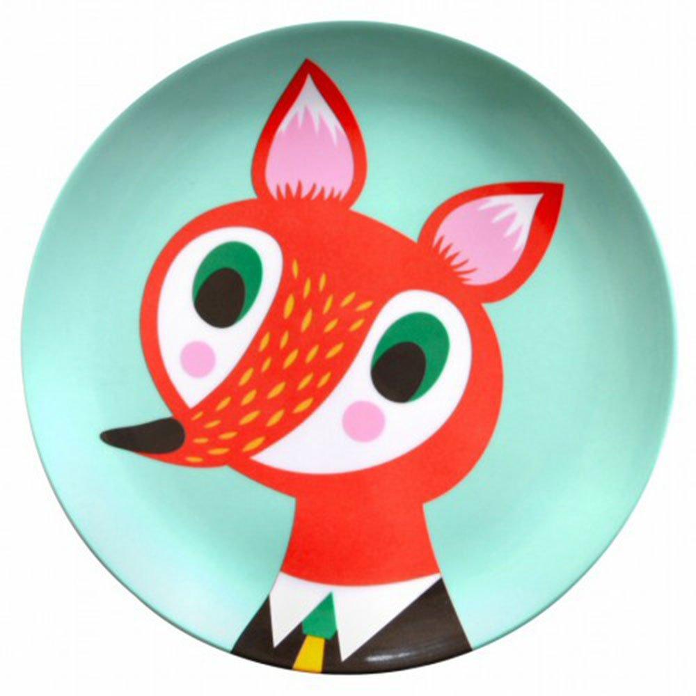 Helen Dardik Melamine Side Plate Orange Fox on Teal