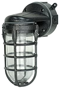 Woods L1707SVBLK Wall Mount Light In Hammered Black Finish For Outdoors And Indoors With Sturdy Die Cast Aluminum Cage (100W Incandescent, Industrial Design)