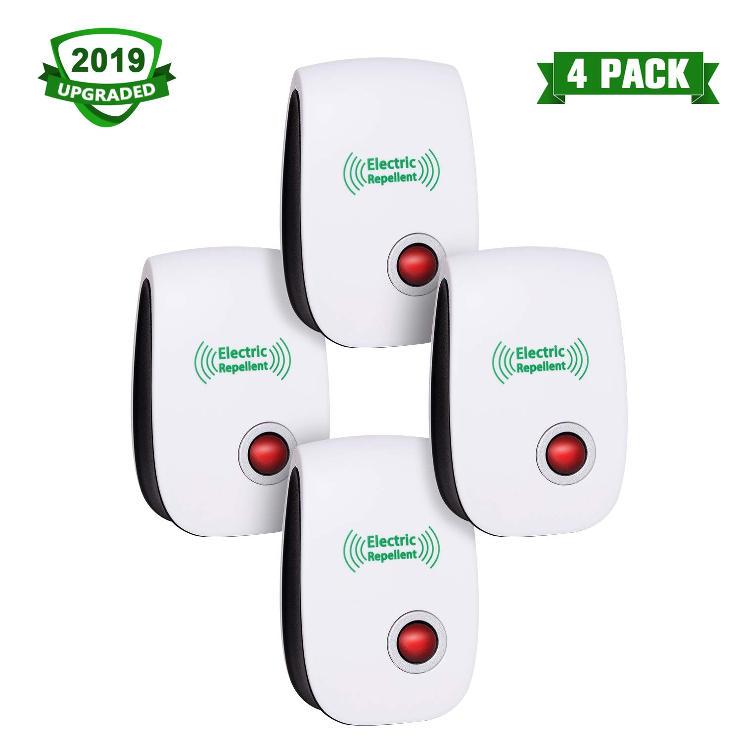 2019 Newest Pest Control Ultrasonic Repellent Electronic Repeller Indoor Plug in Mosquito Control for Bugs and Insects Mice Ant Mosquito Spider Rodent Roach, Child and Pets Safe Control (4 Packs) by CIVPOWER