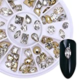 #10: BONNIESTORE 1 Box Nail Rhinestone Gold Clear Double-sided Studs Marquise Heart Water Drop Manicure 3D Nail Art DIY Decoration in Wheel