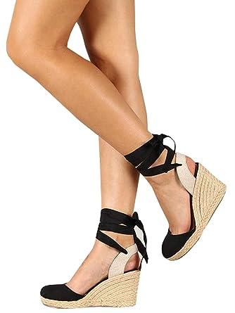 837bf9e44 Amazon.com: Ermonn Womens Platform Espadrille Wedge Sandals Lace Up Closed  Toe Mid Heel Slingback Sandals: Clothing