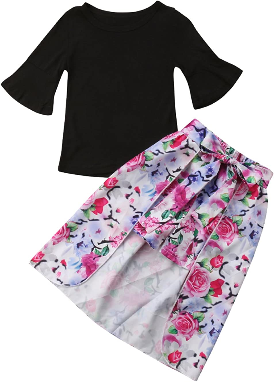 Baby Girls Black T-Shirt Tops,Baby Girls Floral Shorts and Cloak Clothes Set 3pcs 1-7 Years Toddler Girls Outfit Set