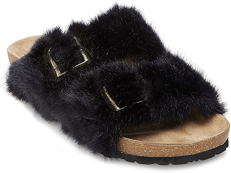 e0101bd135c Steve Madden Womens Soul Faux Fur Slide Sandals Black 5 Medium (B