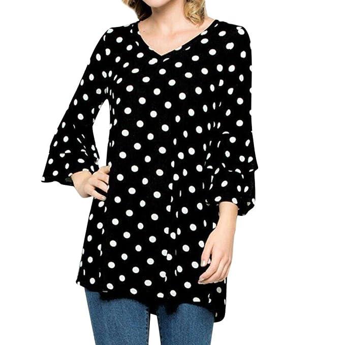 Tefamore Mujer Camiseta Ocasionales Manga Larga Blusa 2018 Impresión Elegantes Camisas Casual Tops para