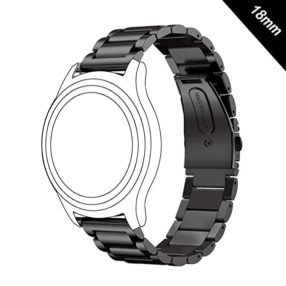 Antube 18mm Women Men Solid Stainless Steel Watch Band Replacement Bracelet Strap for Huawei Watch, LG Watch Style, Nokia Withings Steel HR 36mm ...