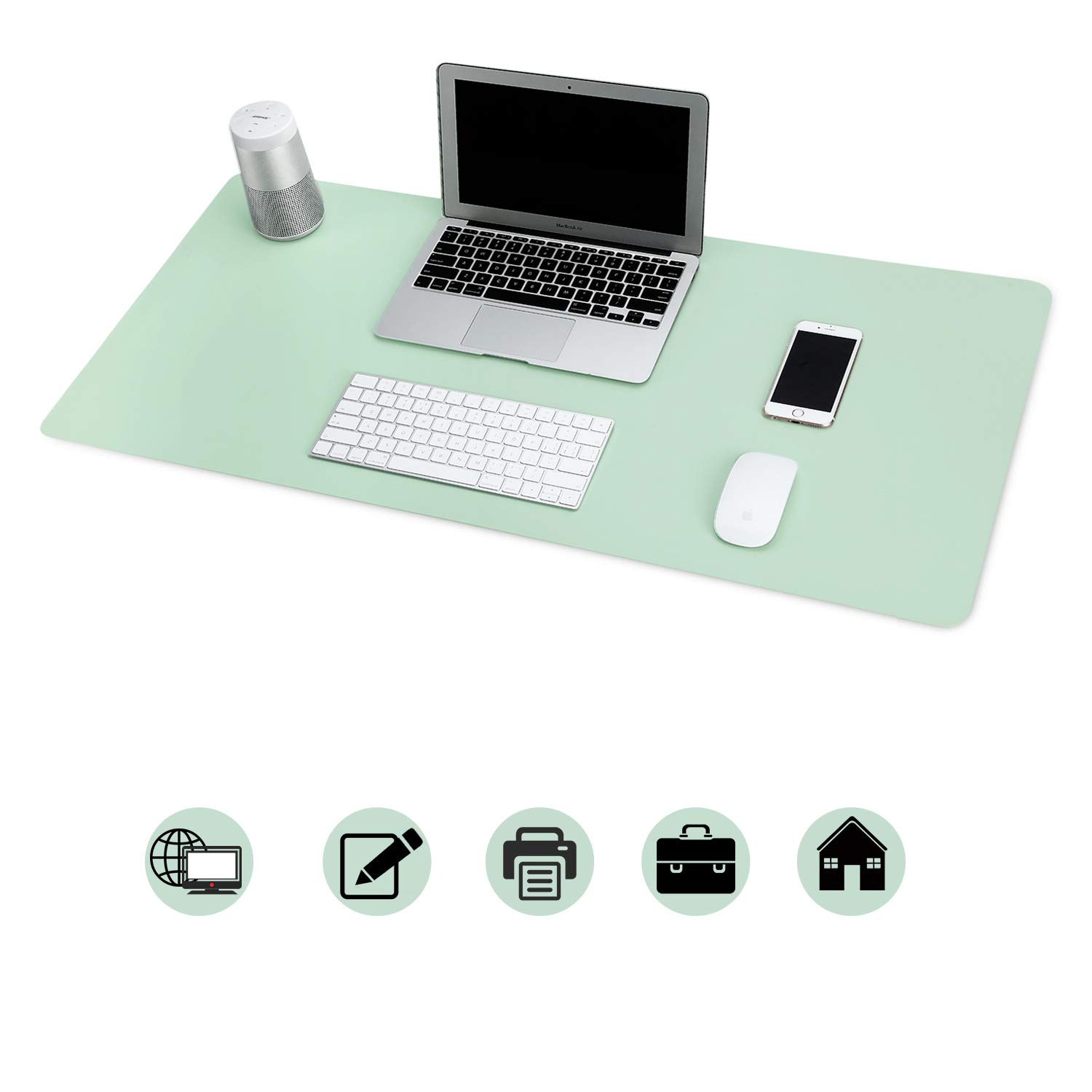 Office Desk Pad, Mouse Pad - Desk Decor Non-Slip Spill-Resistant, Thick Extended PU Leather Desk Blotter 31.5×15.7in (Green) by BUBM