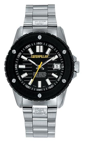 Caterpillar SHOCKMASTER CA1013 - Reloj de caballero de cuarzo, correa de acero inoxidable color plata: Amazon.es: Relojes