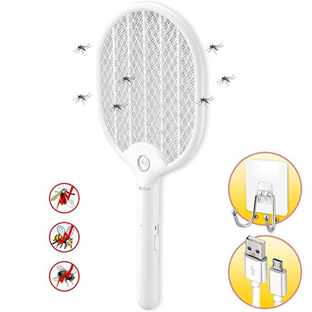 Electric Fly Swatter, 3000V Rechargeable Fly Swatter, with LED Lights and 3-Layer Safety Net, with Sticky Wall Hook, Suitable for Indoor and Outdoor Camping Barbecue by Sanzhizhu