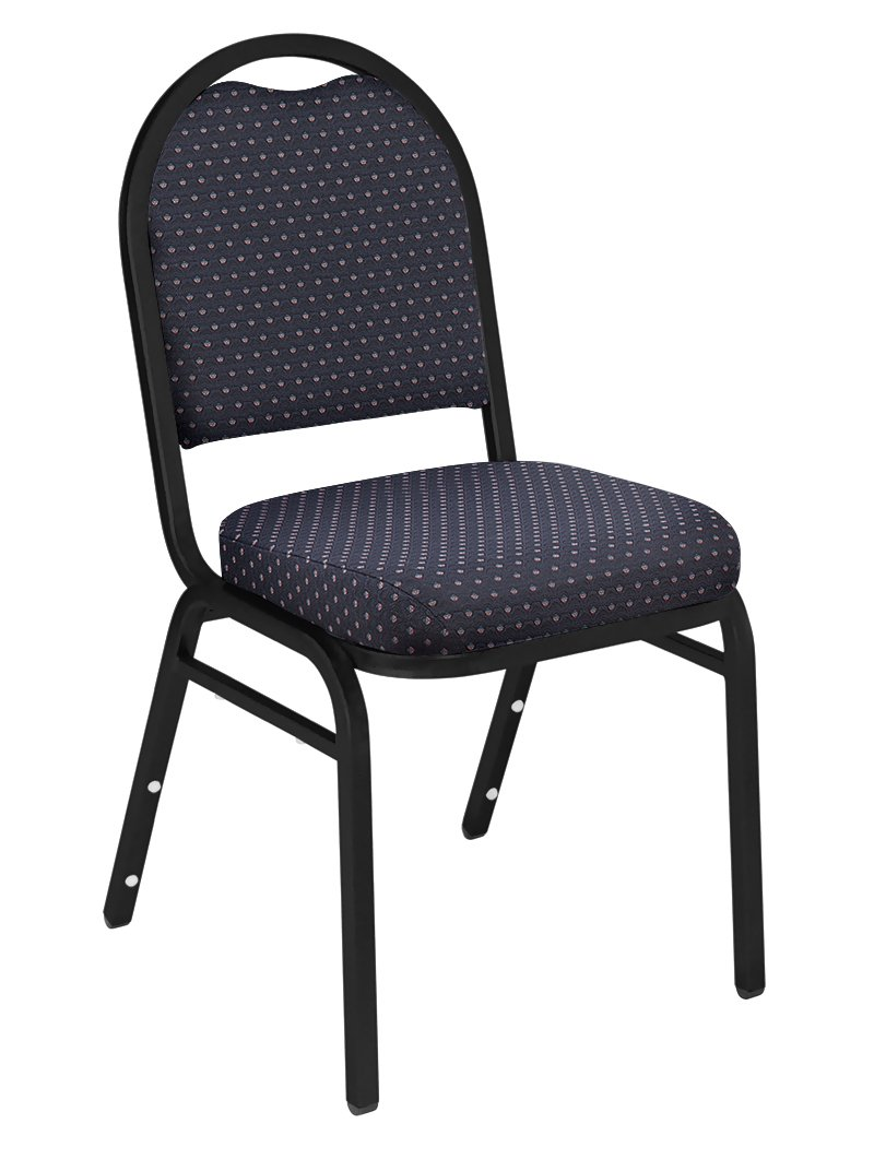 NPS 9264-BT Fabric Dome Back Stack Chair with Steel Black Sandtex Frame, 300-Pound Capacity, 18-Inch Length x 20-Inch Width x 34-Inch Height, Diamond Navy National Public Seating