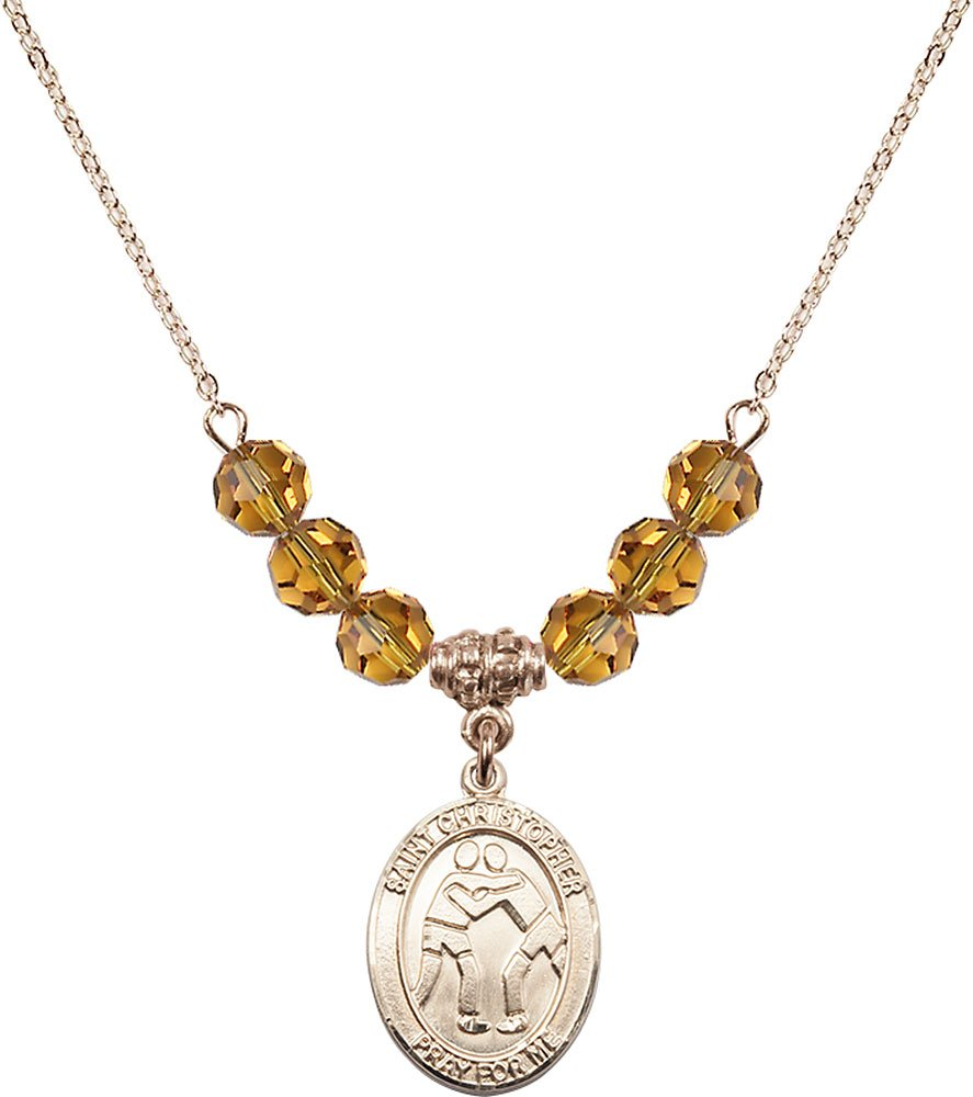 Gold Plated Necklace with 6mm Topaz Birthstone Beads & Saint Christopher/Wrestling Charm.