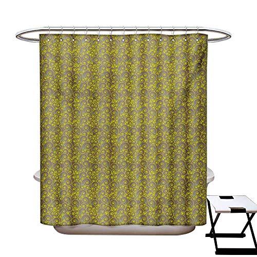 Modern Shower Curtains Fabric Extra Long Spiral Swirls Motifs Pattern Abstract Art Design Geometric Illustration Bathroom Set with Hooks W72 x L96 Pale Brown Yellow Aqua