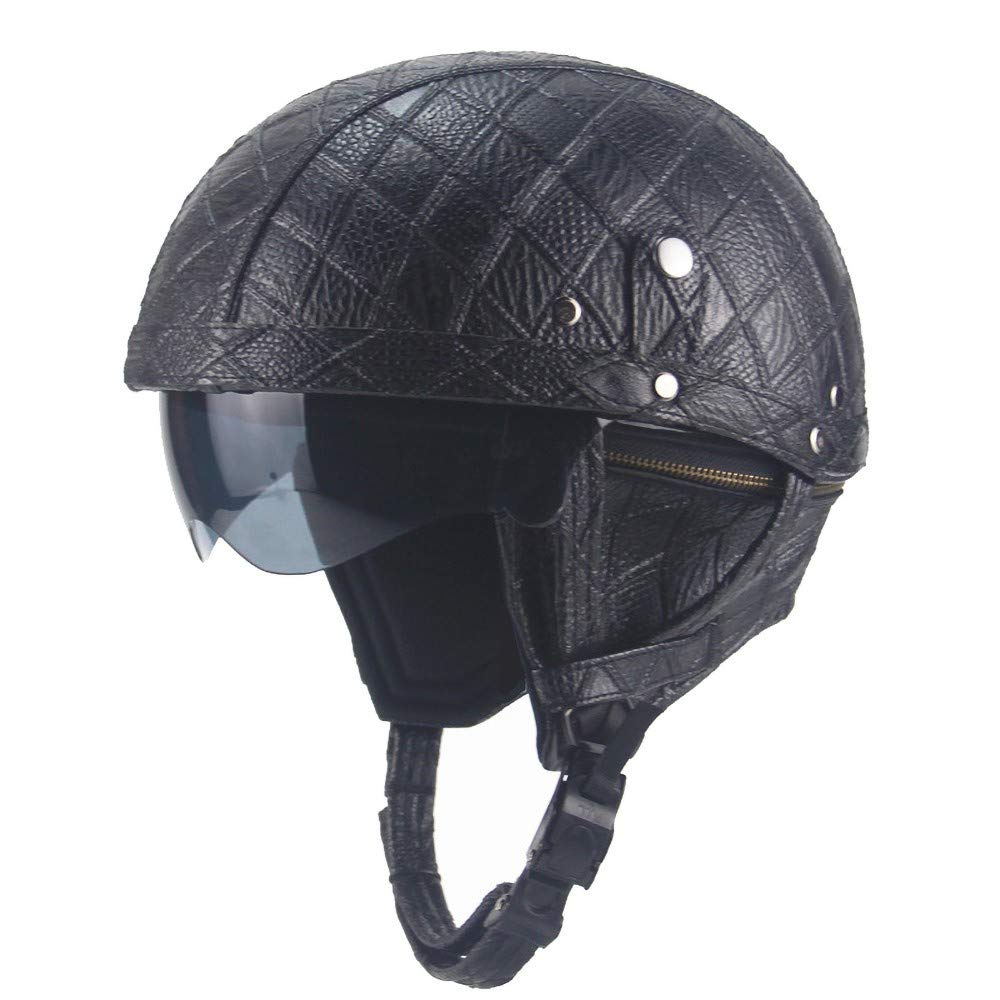 Vintage Helm,Motorrad Jet Helm Mit Integriertem Sonnenvisier UVschutzbrille Retro Helmet DOT Zertifiziert F/üR Herren Damen Pedallokomotive Cruiser Roller Chopper Pilot 56-61cm