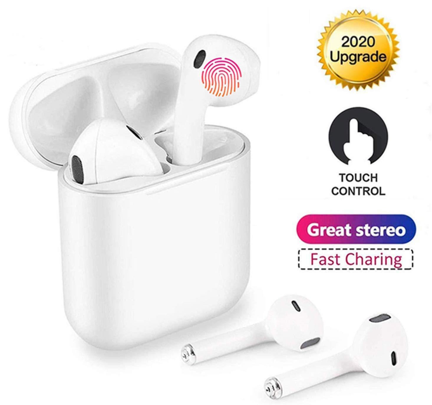 Auriculares Bluetooth inal/ámbricos BT5.0 Touch Control Design Super Mini Auriculares con micr/ófono est/éreo Audio Soporte Siri para iOS Android (Blanco-79)