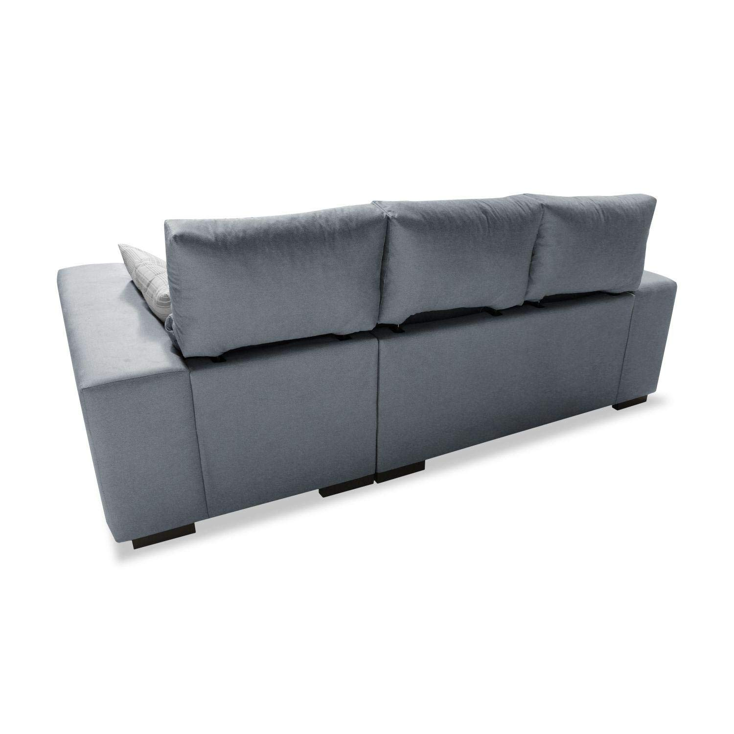 Muebles Baratos Sofa con Chaise Longue 3 plazas, Color Gris ...