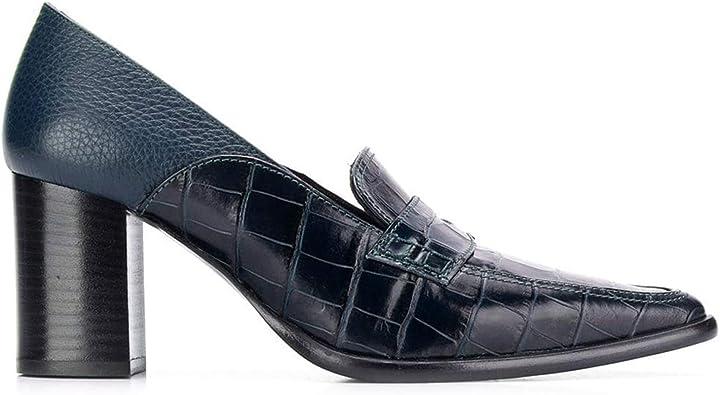 Slip On Block Chunky High Heel Closed Pointy Toe Denim Pumps Classic Heels