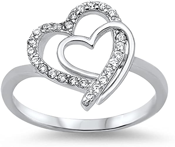 Double Interlocking Heart Clear CZ Promise Ring .925 Sterling Silver Sizes 5-11