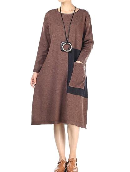 fcddecf6e0f42 Mordenmiss Women s Autumn Long Sleeve Retro Sweater Dress at Amazon ...
