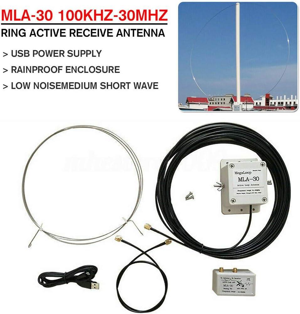 chenpaif MLA-30 + Antena de Bucle Antena receptora Activa Balcón de bajo Ruido 100kHz-30MHz