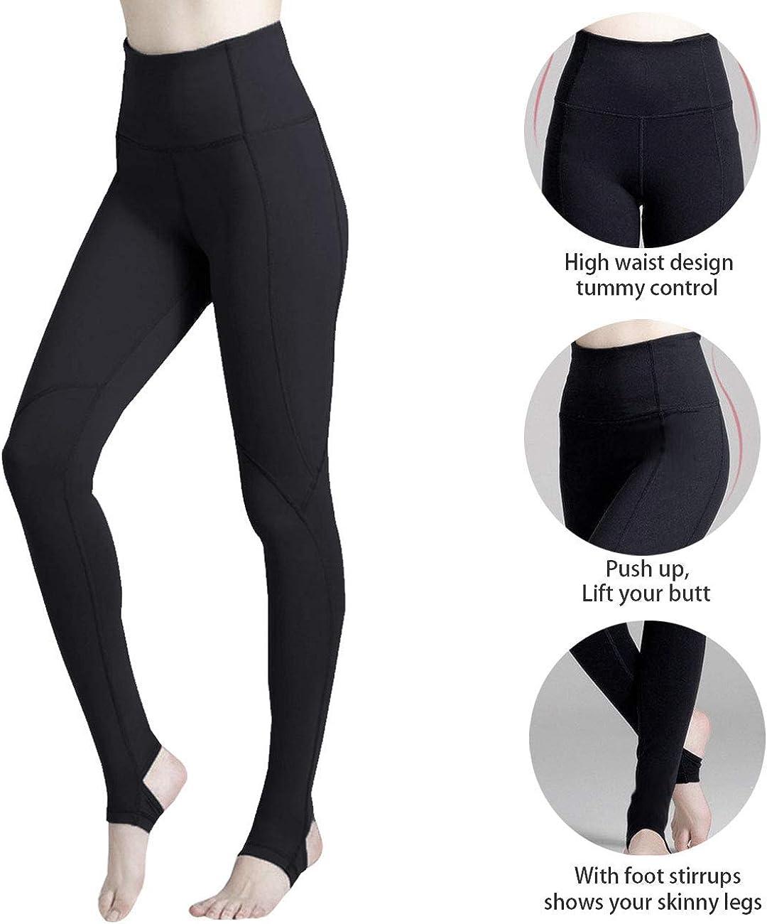Ecupper Womens Yoga Pants Stirrup Tights High Waist Stretch Sports Workout Leggings