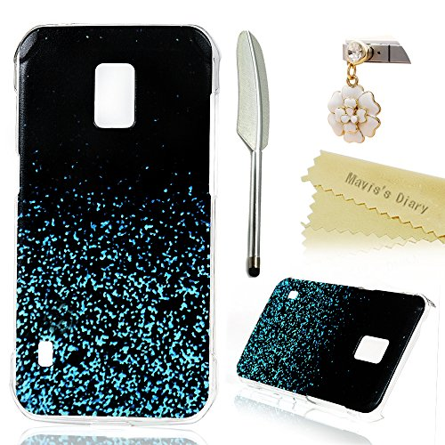 (Not for S5)S5 Active Case,Galaxy S5 Active Case - Mavis's Diary Special Painted Series Blue Stars in Night Pattern Clear Cover Hard PC Case for Samsung Galaxy S5 Active SM-G870A