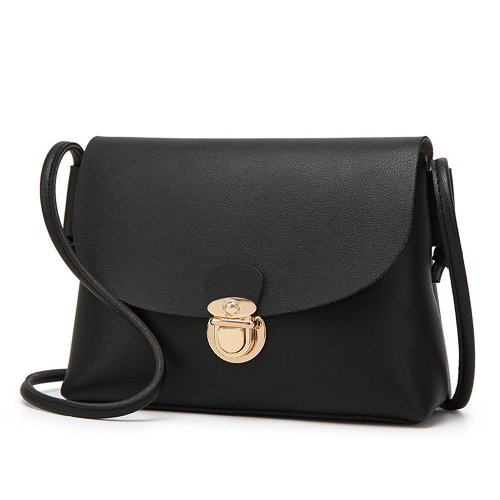 Amyannie Casual Pu Lock Buckle Shoulder Diagonal Lady Square Package (Color : Black)