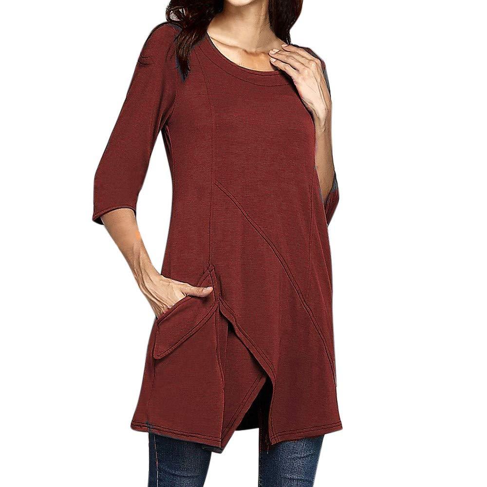 Rovinci_Women Plus Size Long Sleeve Solid Sweatshirt Split Irregular Hem Tailoring Pocket Pullover Tops Shirt