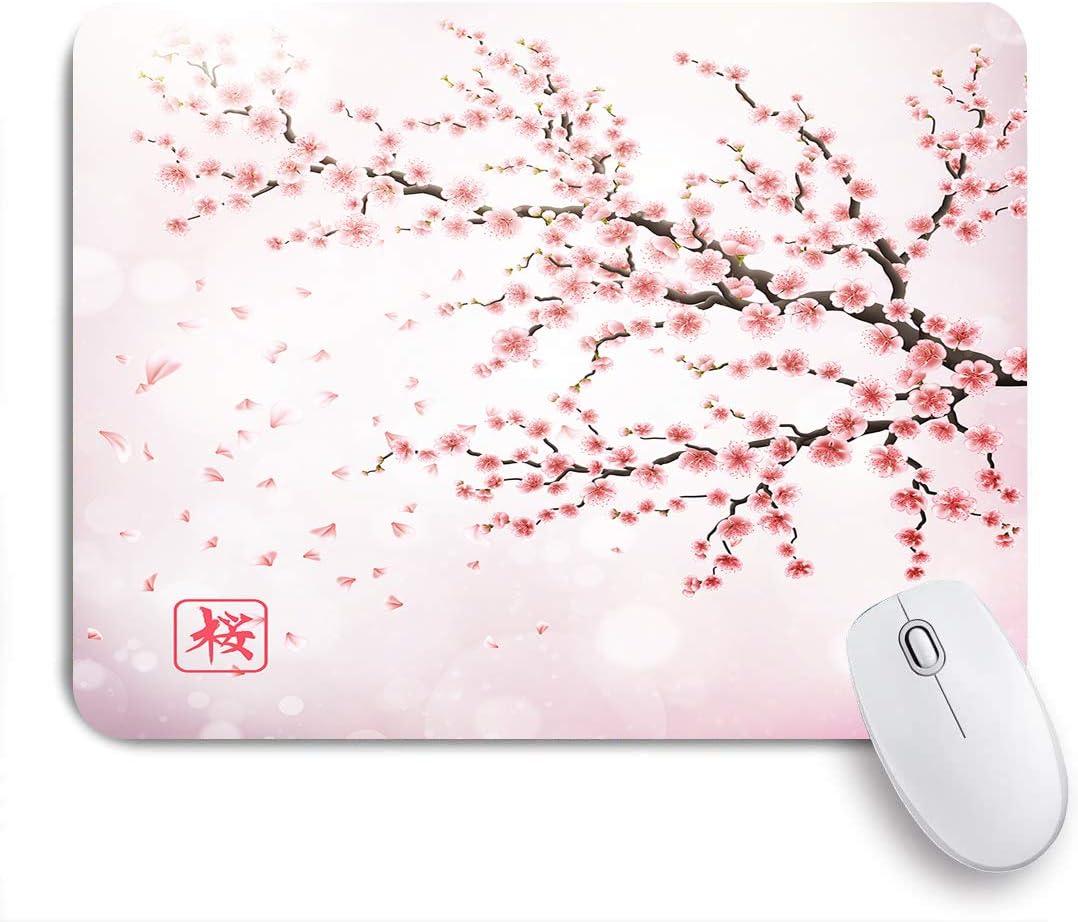 COFEIYISI Rama de Cerezo de Japón Realista con jeroglíficos de Flores florecientes Archivo de Sakura,Alfombrilla Raton Alfombrilla Gaming Alfombrilla para computadora