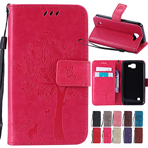 4g Case Pouch - LG Optimus Zone 3 / LG Rebel 4G LTE / LG K4 VS425 / LG Spree Case,, BestAlice Tree Cat Butterfly PU Leather Fold Wallet Stand Pouch Magnetic Wrist Strap Case Skin Cover , Rose Red