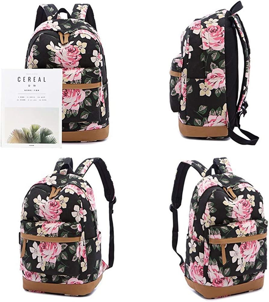 Floral Cute Lightweight Canvas College Bookbags 14 Laptop Backpack with Lunch Bag and Pencil Case Girls Backpack Set