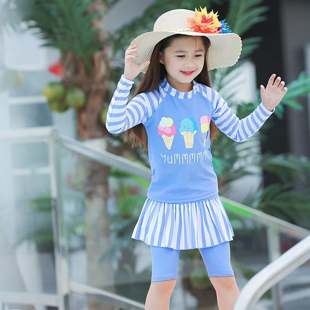 Sun Protection Rash Guard Swimwear Kids Girl 2PCS Long Sleeve Swimsuits Bathing Suits with Sunhat UPF 50